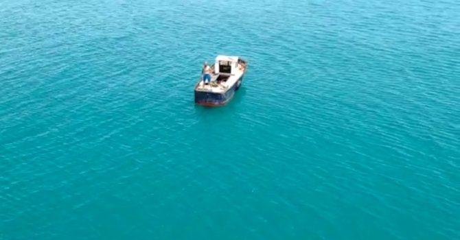 Trabzon'da denizin ortasında mahsur kalanları böyle kurtarmışlar