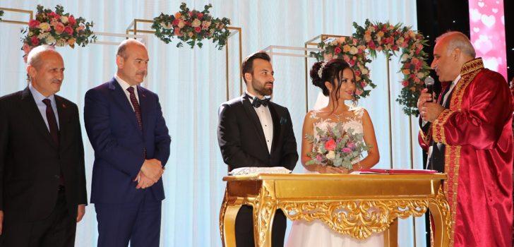 Bakanlar Soylu ve Turhan Trabzon'da nikah şahidi oldu