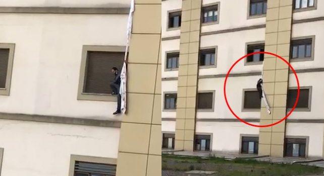Trabzon'da yabancı Kovid-19 hastası camdan sarkıttığı çarşafla kaçmaya çalıştı