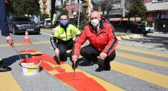 Araklı'da Yaya Geçitlerine 'Kırmızı Çizgi' Uygulaması
